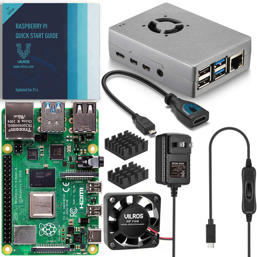 Vilros Raspberry Pi 4 Basic Starter Kit with Fan Cooled Heavy Duty Aluminum Alloy Case 8GB, Silver