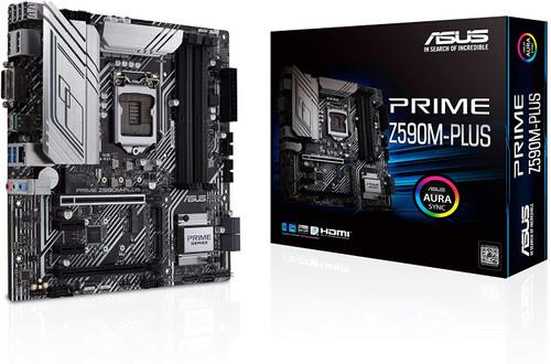 ASUS Prime Z590M-PLUS LGA 1200(Intel11th/10th Gen) microATX Motherboard (PCIe 4.0, 10 Power Stages, 3X M.2 Slot,Thunderbolt 4 Header,1Gb LAN, SPI-TPM Header,M.2 Socket -Key E Wireless,Aura Sync RGB)