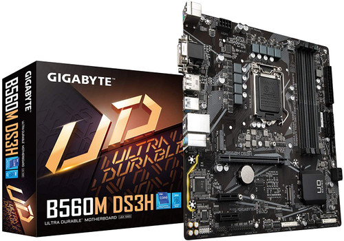 GIGABYTE B560M DS3H (LGA 1200/ Intel/ B560/ Micro-ATX/Dual M.2/ PCIe 4.0/ USB 3.2 Gen1/ GbE LAN/Motherboard)
