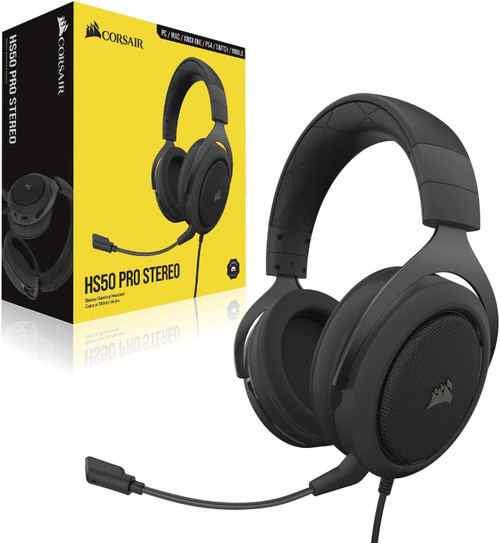 Corsair HS50 Pro - Stereo Gaming Headset - Discord Certified Headphones - Works with PC, Mac, Xbox Series X, Xbox Series S, Xbox One, PS5, PS4, Nintendo Switch, iOS and Android