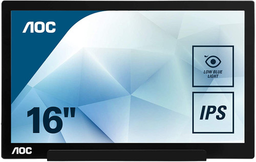 """AOC 15.6"""" USB-C powered portable monitor, extremely slim, Full HD 1920x1080 IPS, SmartCover, AutoPivot for devices w/ USB-C DP Alt Mode only"""