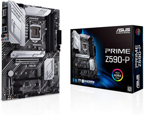 ASUS Prime Z590-P LGA 1200 (Intel 11th/10th Gen) ATX Motherboard (PCIe 4.0, 10+1 Power Stages, 3X M.2, 2.5Gb LAN, Front Panel USB 3.2 Gen 2 USB Type-C, Thunderbolt 4 Support)