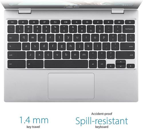 "ASUS Chromebook CX1, 11.6"" HD NanoEdge Display, Intel Celeron N3350 Processor, 32GB eMMC, 4GB RAM, Spill-resistant Keyboard, Chrome OS, Transparent Silver,"