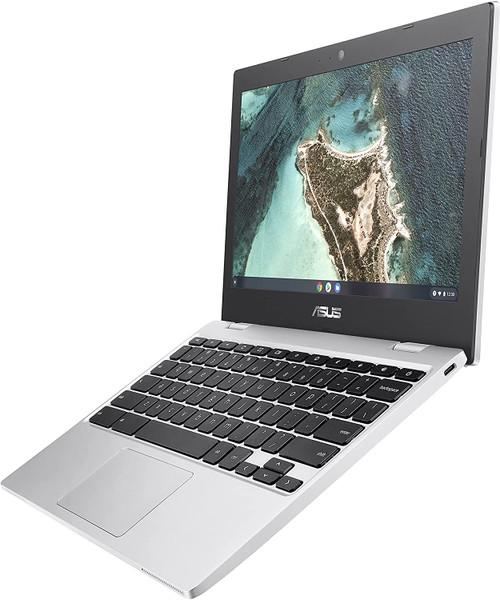 "ASUS Chromebook CX1, 11.6"" HD NanoEdge Display, Intel Celeron N3350 Processor, 32GB eMMC, 4GB RAM, Spill-resistant Keyboard, Chrome OS, Transparent Silver (CX1100CNA-AS42)"