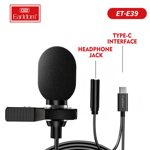 Earldom ET-E39 mini Microphone Type C with 3.5mm Female & with clip