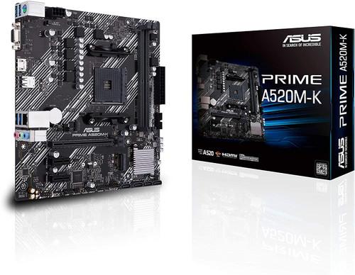 ASUS PRIME A520M-K AMD AM4 (3rd Gen Ryzen) Micro-ATX motherboard (ECC memory, M.2 support, 1Gb Ethernet, M.2, USB 3.2 Gen 1 Type-A,HDMI 2.1 4K@60Hz, D-Sub)