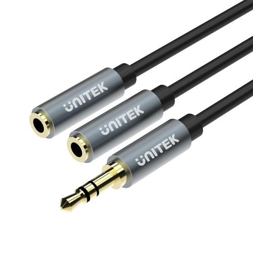 UNITEK  Y-C956ABK 0.2M, 3.5MM AUX Audio Cable - Male to 2*Female