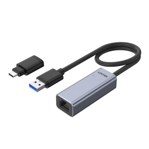 Y-3464A Unitek USB3.0 Aluminium Gigabit Ethernet Converter (With USB-C Adaptor)1. New USB USB-C connector. 2. Change between USB-A and USB-C freely