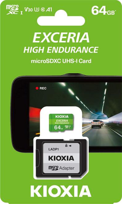Kioxia 64GB microSD Exceria High Endurance Flash Memory Card U3 V30 C10 A1 Read 100MB/s Write 65MB/s LMHE1G064GG