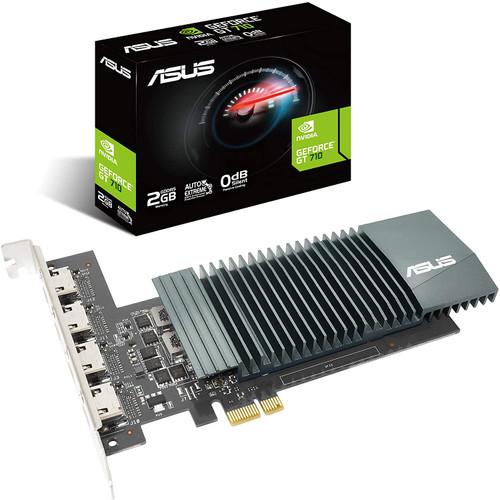 ASUS NVIDIA GeForce GT 710 Graphics Card (PCIe 2.0, 2GB GDDR5 Memory, 4X HDMI Ports, Single-Slot Design, Passive Cooling)-GT710-4H-SL-2GD5
