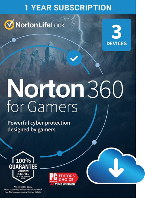 Norton 360 For Gamers 3 Device 1 User 50GB Cloud Backup 1 Year Subscription