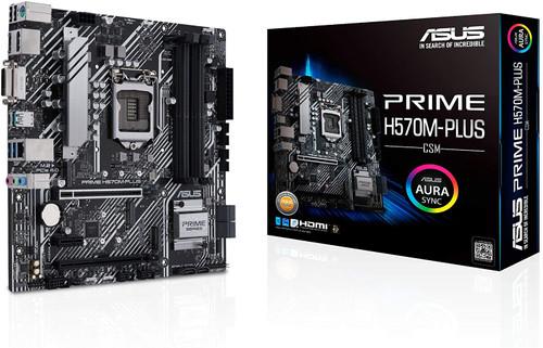 ASUS Prime H570M-PLUS/CSM LGA1200 (Intel 11th/10th Gen) MicroATX Motherboard (PCIe 4.0, 8 Power Stages, HDMI, DVI, DisplayPort, Dual M.2, Intel 1Gb LAN, USB 3.2 Gen 2 Type-C, Thunderbolt 4, ACCE)