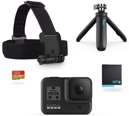 GoPro HERO8 Black Retail Bundle - Includes HERO8 Black Camera Plus Shorty, Head Strap, 32GB SD Card, and 2 Rechargeable Batteries