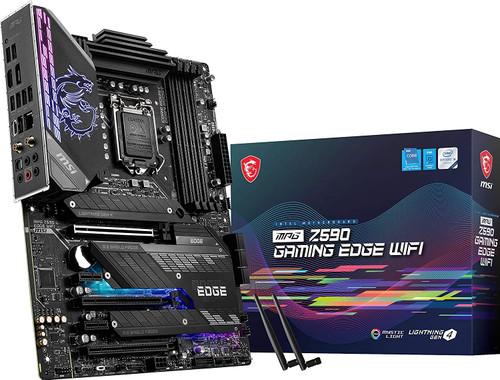 MSI MPG Z590 Gaming Edge WiFi Gaming Motherboard ATX, 11th/10th Gen Intel Core, LGA 1200 Socket, DDR4, PCIe 4, CFX, M.2 Slots, USB 3.2 Gen 2, Wi-Fi 6E, DP/HDMI, Mystic Light RGB