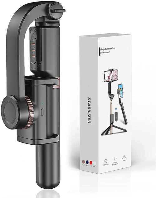 Gimbal Stabilizer for Smartphone with Extendable Bluetooth Selfie Stick and Tripod, 1-Axis Multifunction Remote 360°Automatic Rotation, Auto Balance