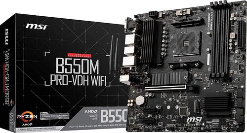 MSI B550M PRO-VDH WiFi ProSeries Motherboard (AMD AM4, DDR4, PCIe 4.0, SATA 6Gb/s, M.2, USB 3.2 Gen 1, Wi-Fi, D-SUB/HDMI/DP, Micro-ATX
