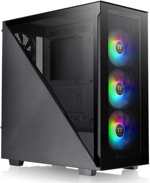 Thermaltake Divider 300 ARGB Triangular Tempered Glass Type-C (USB 3.1 Gen 2) Water Cooling Ready ATX Mid Tower Computer Case with 3 120mm ARGB Rear Fan Pre-Installed
