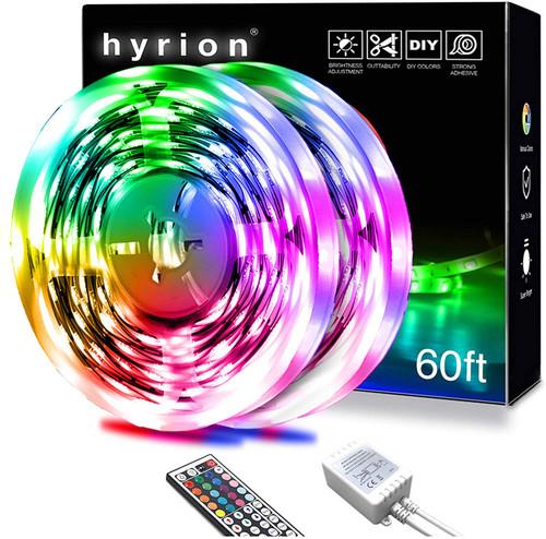 60ft LED Strip Lights, HYRION RGB Color Changing LED Lights for Bedroom , Kitchen, Room, Home. Dimmable Light Strips with IR Remote Control, DIY Mode