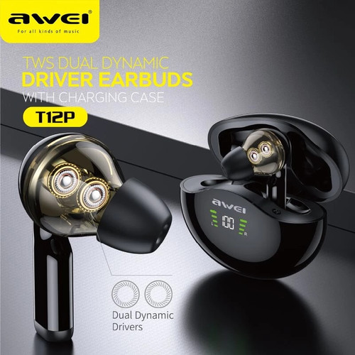 Awei T12P Earbuds TWS Wireless Earphone Bluetooth Handsfree Deep Bass Touch Control In-Ear With Mic 390mAh Battery Charging Case