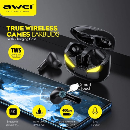 Awei T35 TWS Gaming Earphone With Mic Wireless Stereo