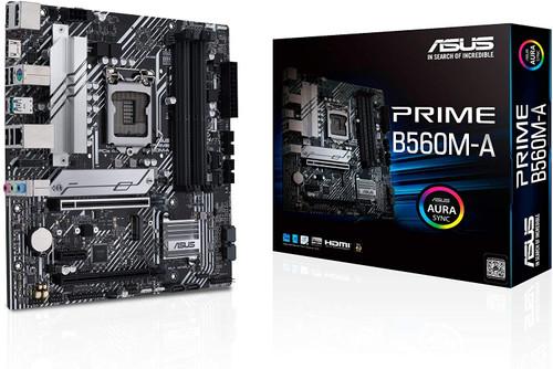 ASUS Prime B560M-A LGA 1200 (Intel 11th/10th Gen) micro ATX motherboard (PCIe 4.0,2x M.2 slots, 8 power stages, 1 Gb LAN, DP, dual HDMI,USB 3.2 Gen 2 Type-C,V-M.2 Key E slot for Wi-Fi,Aura Sync RGB)