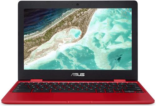 "ASUS Chromebook C223 11.6"" HD Chromebook Laptop, Intel Dual-Core Celeron N3350 Processor (up to 2.4GHz), 4GB RAM, 32GB eMMC Storage, Premium Design, Red,"