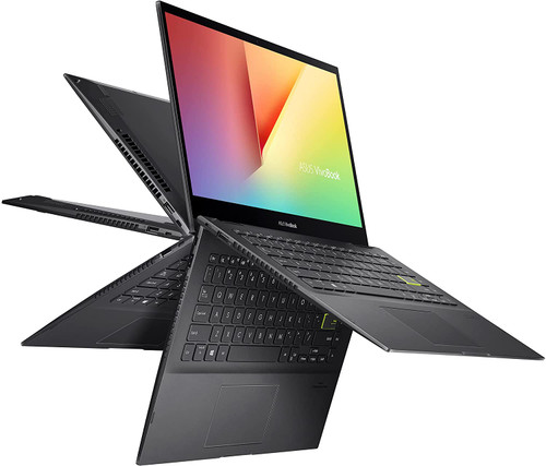 """ASUS VivoBook Flip 14 Thin and Light 2-in-1 Laptop, 14"""" FHD Touch, 11th Gen Intel Core i3-1115G4, 4GB RAM, 128GB SSD, Thunderbolt 4, Fingerprint, Windows 10 Home in S Mode, Indie Black"""