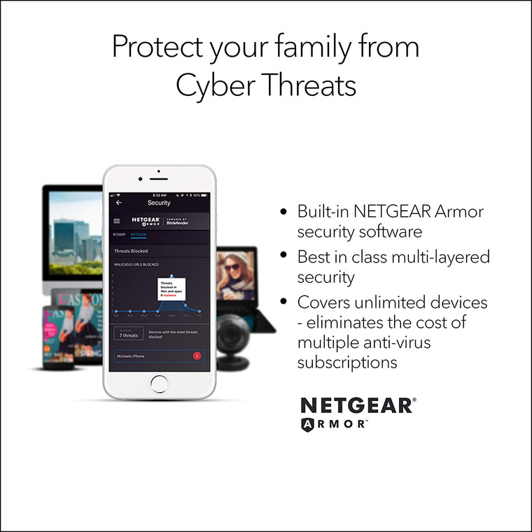 NETGEAR RBK352 Orbi Whole Home Dual Band Mesh WiFi 6 System  – Router + 1 Satellite Extender   Coverage up to 3,500 sq. ft. and 30+ Devices   AX1800 WiFi 6 (Up to 1.8Gbps) *30 Months Warranty*