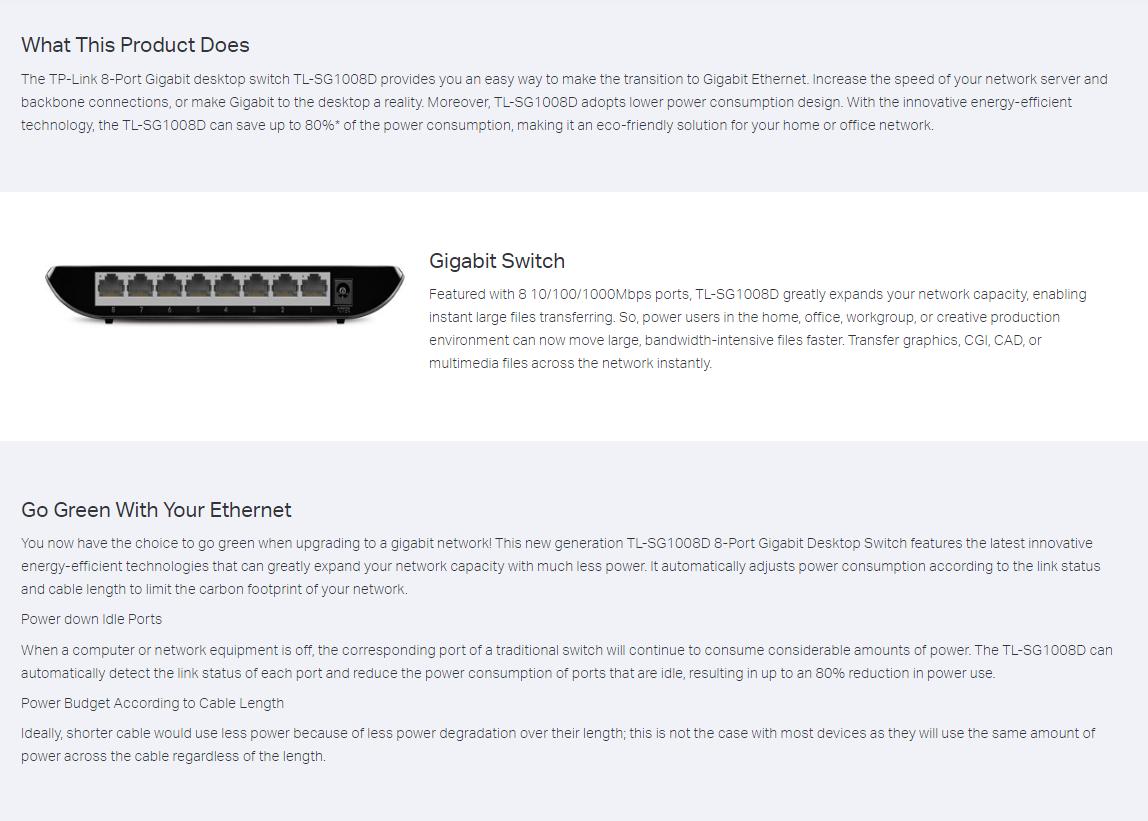TP-Link SG1008D Gigabit Switch 8 Port 10/100/1000