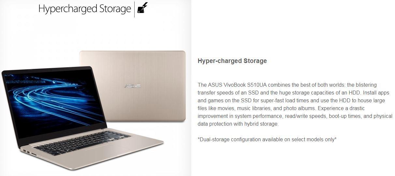 """ASUS VivoBook S510UA-DS71 Ultra Thin Laptop, i7-8550U processor, 4GB DDR4,  256GB SSD+1TB HDD, 15""""WideView FHD,GEFORCE 2GB 920MX"""