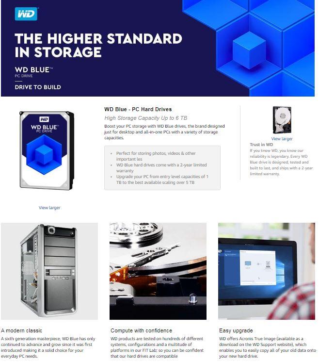 WD Blue 1TB PC Hard Drive - 7200 RPM Class, SATA 6 Gb/s, 64 MB Cache, 3 5