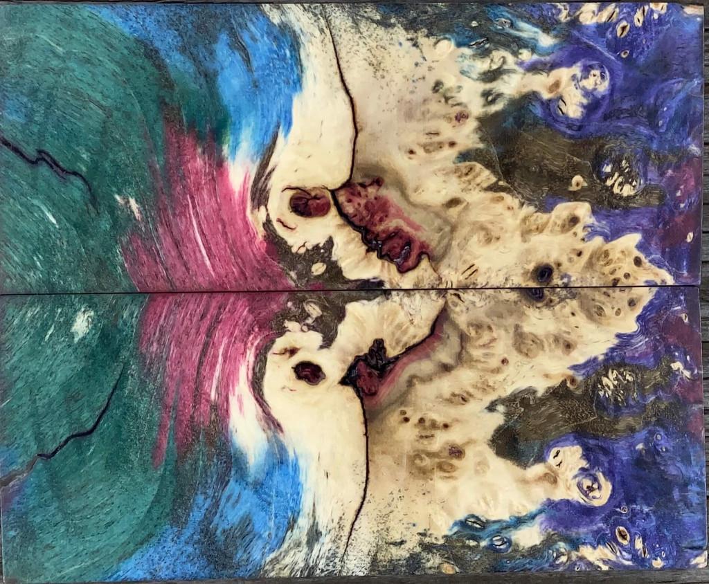 """Fusion"" Triple Dyed Box Elder Burl Handle Scale #1003"