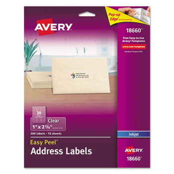 Avery Matte Clear Easy Peel Mailing Labels - AVE18660