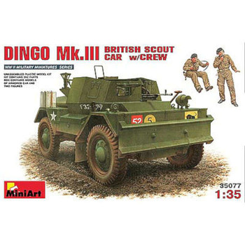 Dingo Mk.III British Scout Car w/Crew -- Plastic Model Military Vehicle Kit -- 1/35 Scale -- #35077
