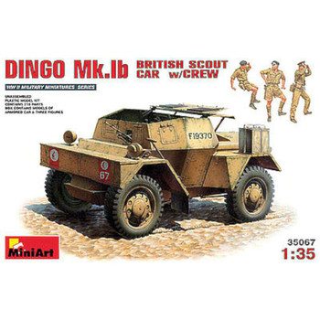 Dingo Mk Ib British Scout Car w/3 Crew -- Plastic Model Military Vehicle Kit -- 1/35 Scale -- #35067