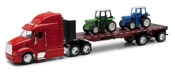 New Ray 10283A 1:32 Scale Die-Cast Peterbilt 387 Flatbed Tractor Trailer with 2 Farm Tractors