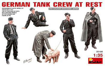 German Tank Crew At Rest (5) -- Plastic Model Military Vehicle Kit -- 1/35 Scale -- #35198