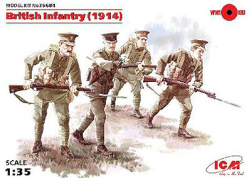 WWI British Infantry with Weapons 1914 (4) -- Plastic Model Military Figure -- 1/35 Scale -- #35684