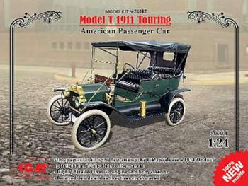Model T 1911 Touring American Passenger Car -- Plastic Model Car Kit -- 1/24 Scale -- #24002