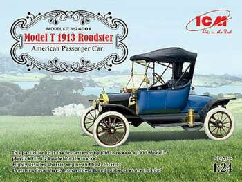 Model T 1913 Roadster American Passenger Car -- Plastic Model Car Kit -- 1/24 Scale -- #24001