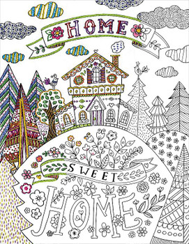 "Design Works/Zenbroidery Stamped Embroidery Kit 14""X18"" Home Sweet Home"
