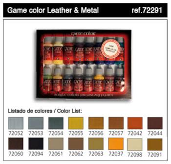 Vallejo Acrylic Paints Leather & Metal Game Color Paint Set (16