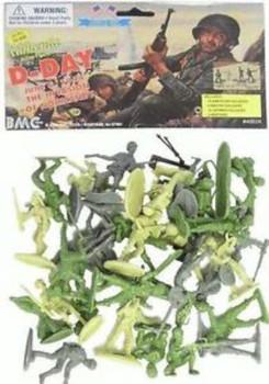 BMC D-Day WW2 Plastic Army Men Toy 34 Figures, 54mm