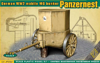 WWII German Mobile Machine Gun Bunker Panzernest-Ace- 1:72 -Military M