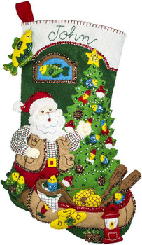 "Bucilla Felt Stocking Applique Kit 18"" Long Lodge Santa"