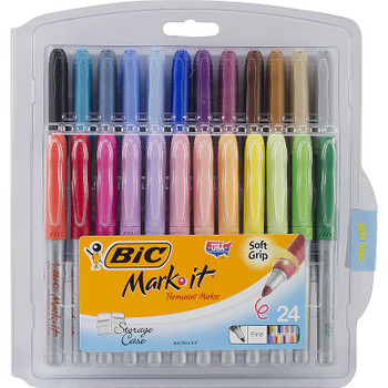 Bic Mark-It Fine Point Permanent Markers 24/Pkg Assorted Colors