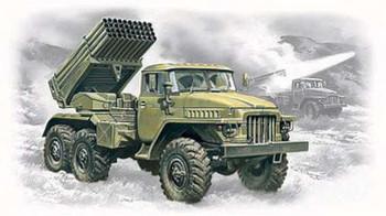 BM21 Grad Multiple Launch Rocket System -- Plastic Model Military Truck Kit -- 1/72 -- #72714