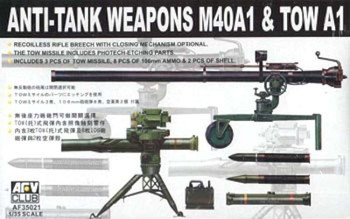 AFV Club 35021 M40A1 Recoilless Rifle & Tow Anti-Tank 1/35 Scale Model Kit