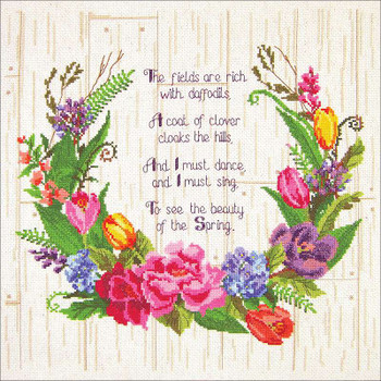 """Janlynn Counted Cross Stitch Kit 14""""X14"""" Spring Sentiments (14 Count)"""
