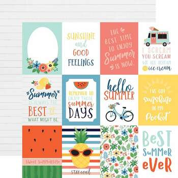 """Summertime Double-Sided Cardstock 12""""X12"""" 3""""X4"""" Journaling Cards"""